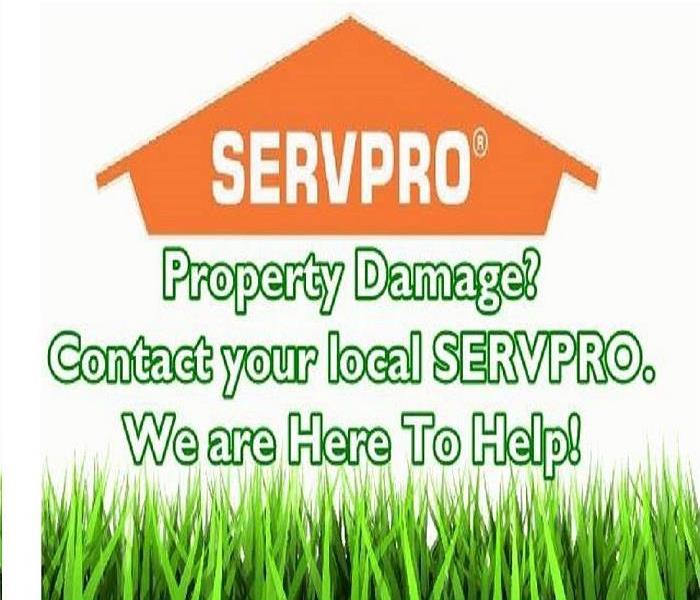 SERVPRO house flier that says Property Damage? Contact your local SERVPRO. We are Here to Help!