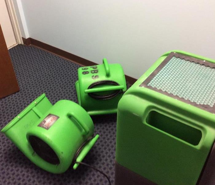 Two green air movers and a green dehumidifier in an office