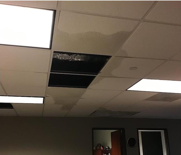 drop tile ceiling with water soaking tiles