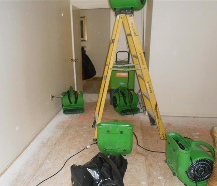 Four green air movers, a yellow ladder, and a green dehumidifier in a room